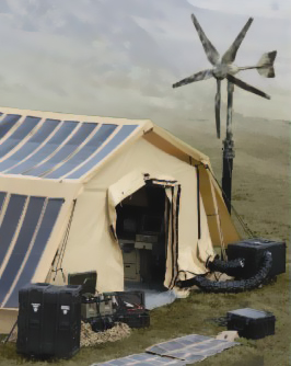 Tactical Shelter Systems combine Solar, Wind Power & Fuel Cells with traditional power sources.